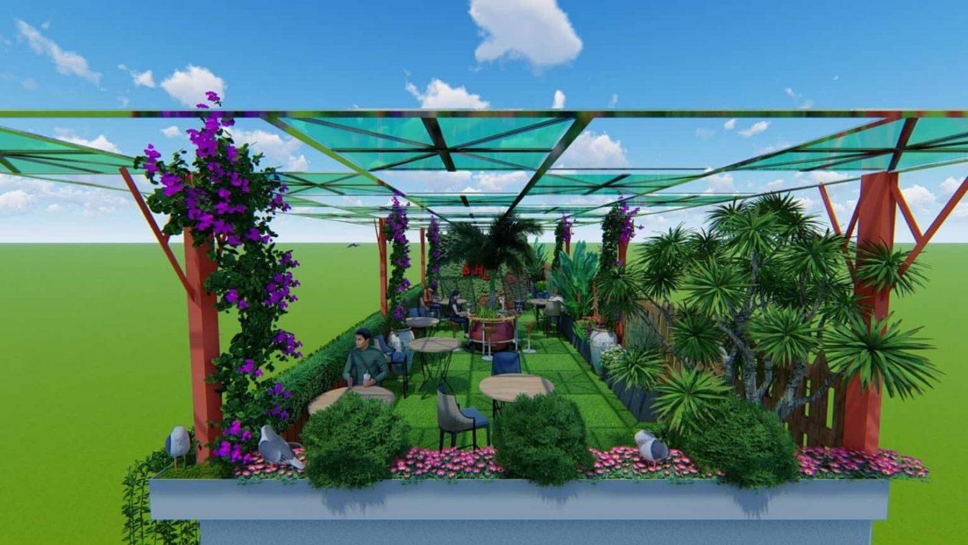 thiết kế sân vườn cafe