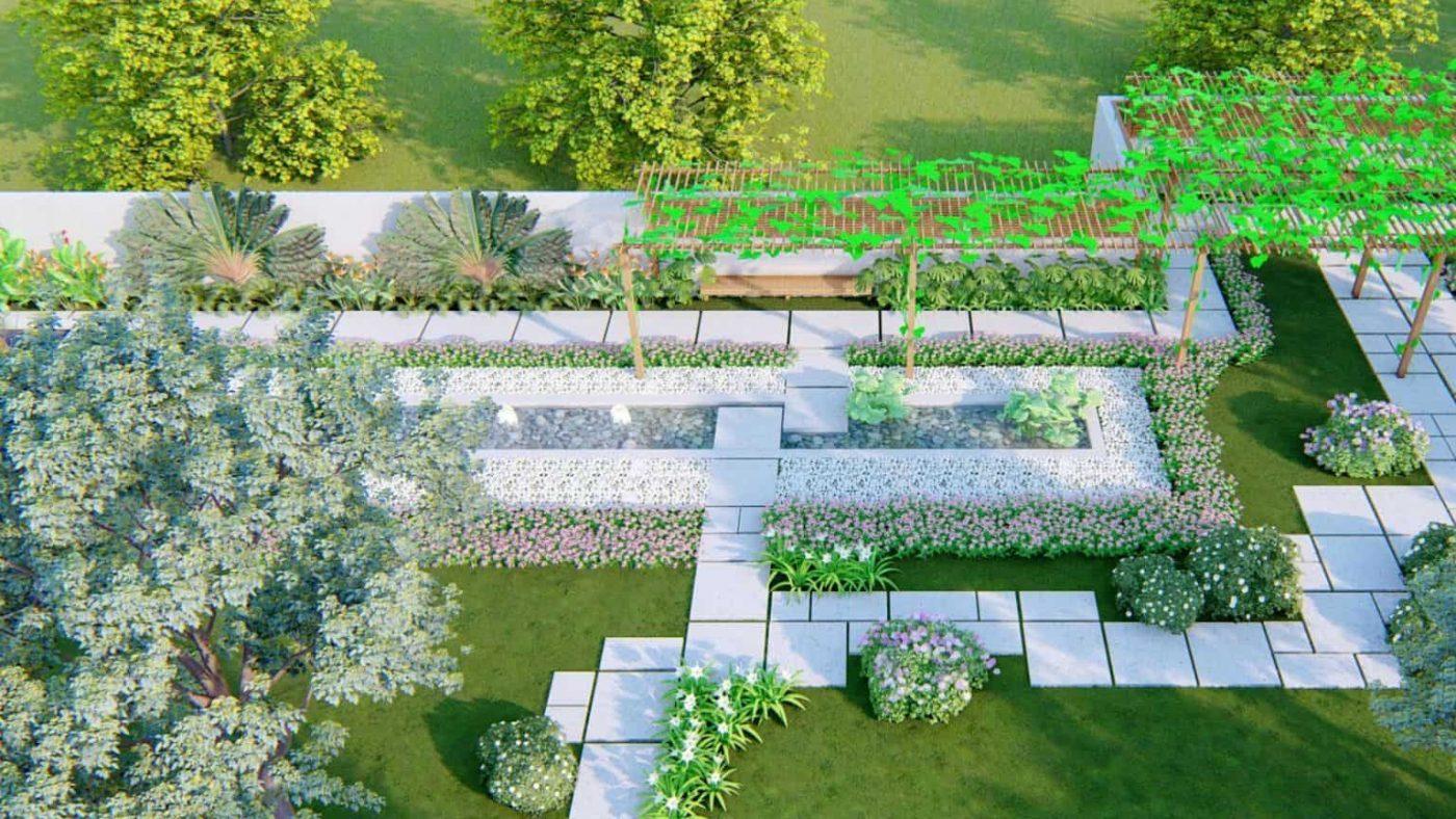 thiết kế sân vườn khu dân cư cao cấp